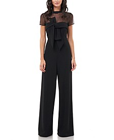 Illusion-Yoke Twist-Front Jumpsuit