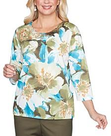 Petite Floral-Print Embellished Knit Top