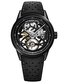 Men's Swiss Automatic Freelancer Black Perforated Rubber Strap Watch 42mm