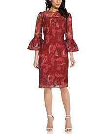 Embroidered Bell-Sleeve Sheath Dress