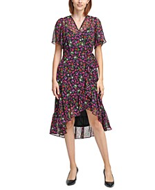 Flutter-Sleeve Faux-Wrap Dress