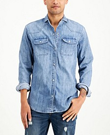 Men's Spread Collar Denim Shirt