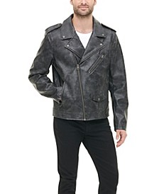 Men's Washed Faux Leather Asymmetrical Motorcycle Jacket