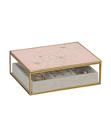 Mele Co. June Glass Jewelry Box with Pink Floral Mirrored Lid