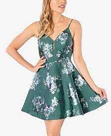 Juniors' Foil Floral Skater Dress