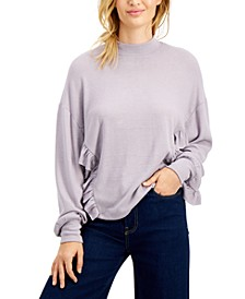 Juniors' Ruffled Hacci-Knit Top