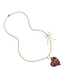 Leopard Heart Pendant Long Necklace