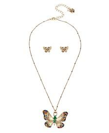 Butterfly Pendant  Stud Earrings Set