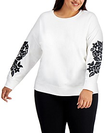 Plus Size Floral-Sleeve Solid Top