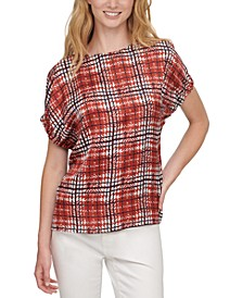 Printed-Front Short-Sleeve Top