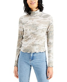 Juniors' Printed Cozy Mock-Neck Top