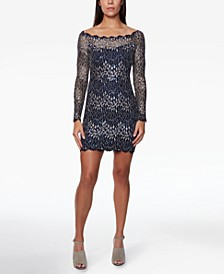 Juniors' Lace Off-The-Shoulder Bodycon Dress