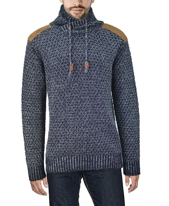 X-Ray  Men's Shawl Collar Sweater with Faux Leather Piecing