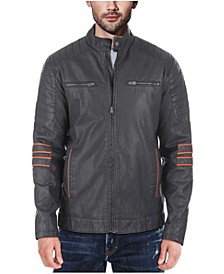 Men's Faux-Leather Moto Jacket with Piping Detail
