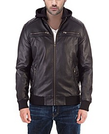 Men's Hooded Faux-Leather Moto Jacket with Patch Detail