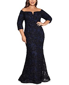 Plus Size Textured Lace Off-The-Shoulder Gown