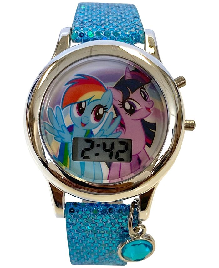 Accutime - Kid's My Little Pony Digital Glitter Silicone Strap Watch 34mm