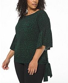 Plus Size Cheetah-Print Side-Tie Top