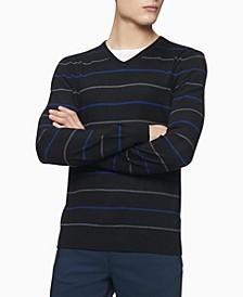 Merino Double Stripe V-Neck Sweater
