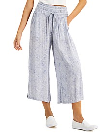 Juniors' Smocked Cropped Wide-Leg Pants