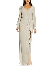 Metallic Faux-Wrap Gown