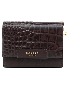 Arlington Court Faux Croc Medium Flapover Wallet