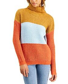 Juniors' Colorblocked Turtleneck Sweater