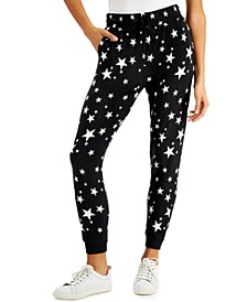 Juniors' Printed Fleece Jogger Pants
