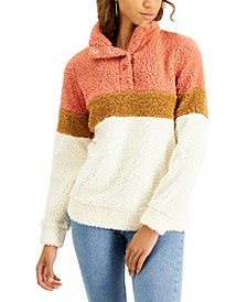 Juniors' Colorblock Fuzzy Sherpa Pullover