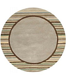 Striped Border MSR4715A Moss 4' x 4' Round Area Rug