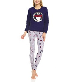 Women's Plush Sherpa Printed Long Sleeve Top and Pajama Set