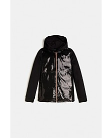 Big Girls Sequin Zip Front Hoodie