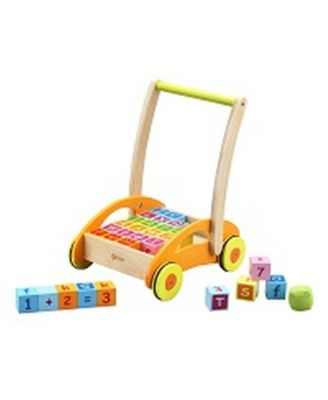Classic World Toys Wood Baby Walker with Blocks, 31 Piece Set