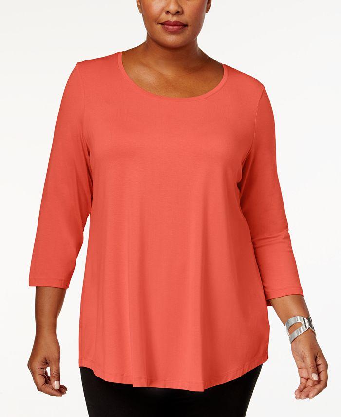 JM Collection - Plus Size Three-Quarter Sleeve Top
