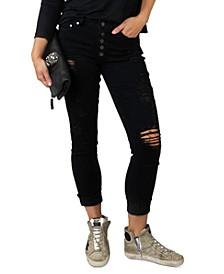 Juniors Distressed Roll-Cuff Jeans
