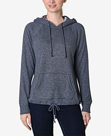 Juniors' Faux-Sherpa Tie-Bottom Hooded Sweatshirt