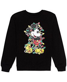 Juniors' Christmas Lights Mickey Mouse Sweatshirt