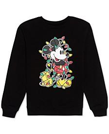 Juniors' Christmas Lights Mickey Mouse Sweatshirt