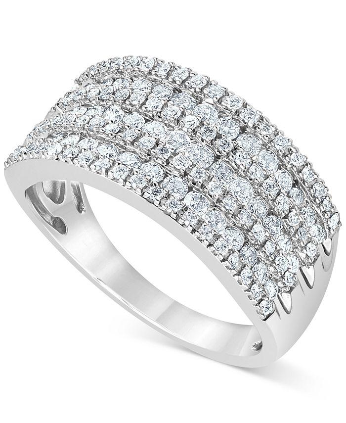 Macy's - Diamond Multi-Row Statement Ring (1 ct. t.w.) in 10K White Gold