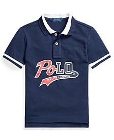Toddler Boys Logo Cotton Mesh Polo Shirt