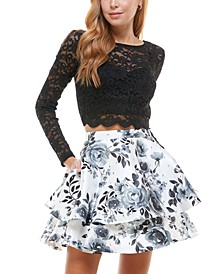 Juniors' Glitter Top & Floral Skirt