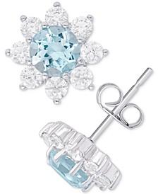 Blue Topaz (1-1/8 ct. t.w.) & Cubic Zirconia Flower Stud Earrings in Sterling Silver