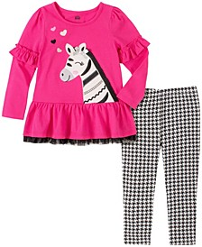 2 Piece Little Girls Zebra Tunic with Houndstooth Legging Set