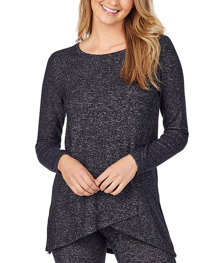 Cuddl Duds - Soft Knit Crossover Tunic Top