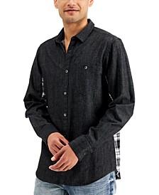INC Men's Plaid Pieced Denim Shirt, Created for Macy's