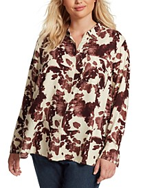 Trendy Plus Size Petunia Printed Shirt