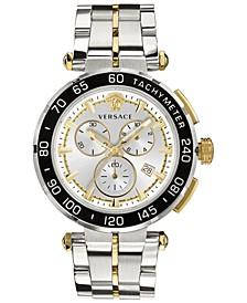 Men's Swiss Chronograph Greca Two-Tone Stainless Steel Bracelet Watch 45mm