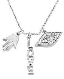 "Diamond Evil Eye, Hamsa Hand & Love Charm 18"" Pendant Necklace (1/10 ct. t.w.) in Sterling Silver"