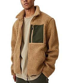 Men's Pocket Teddy Zip Through Fleece Sweater