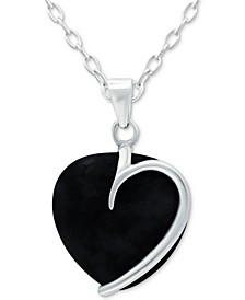 """Onyx Heart 18"""" Pendant Necklace in Sterling Silver (Also Red Jasper, Sodalite & Amethyst), Created for Macy's"""